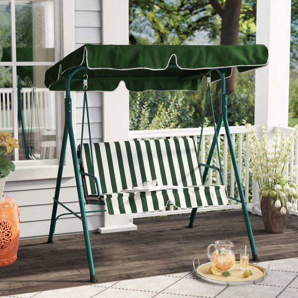 Proothi Patio Loveseat Canopy Hammock Porch Swing with Stand by Red Barrel Studio