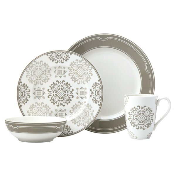 Neutral Party Medallion 4 Piece Place Setting, Service for 1 by Lenox