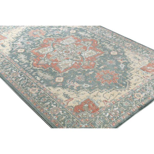 Burdett Beige/Blue Area Rug by Bungalow Rose