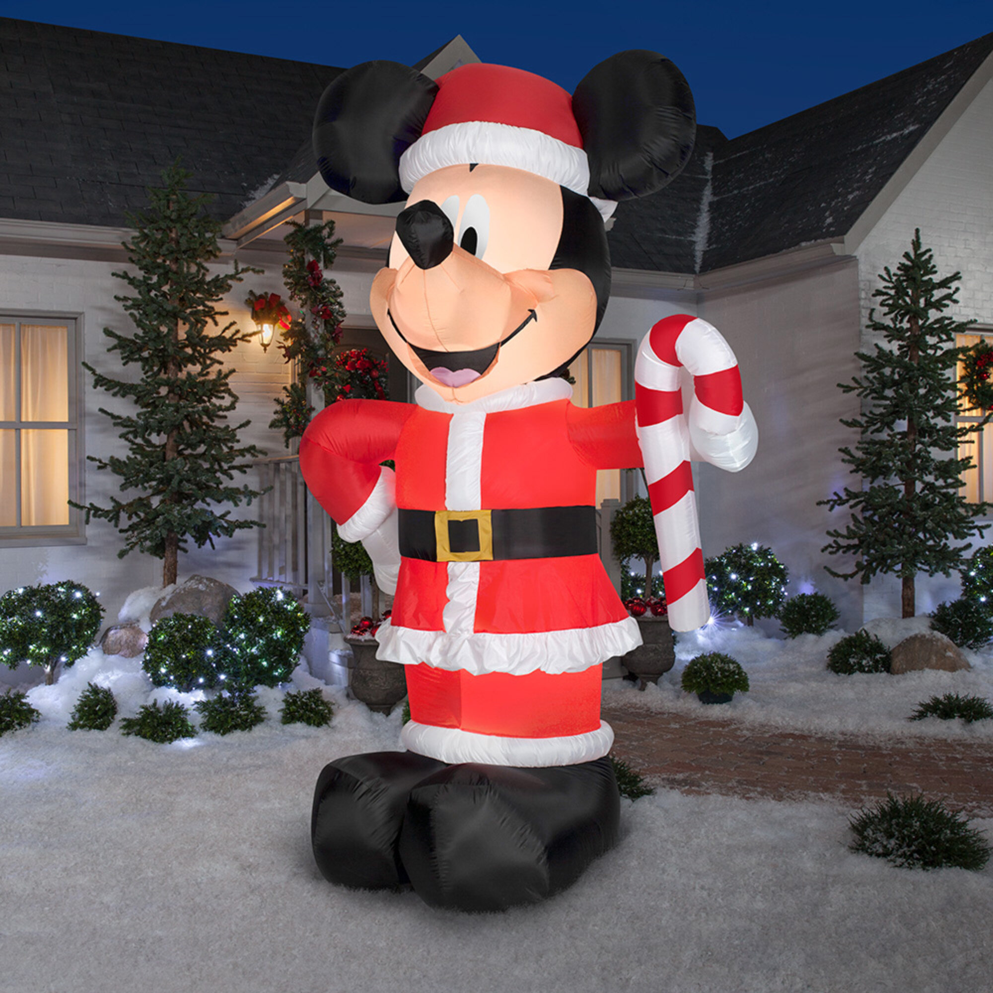 the holiday aisle disney santa mickey with candy cane inflatable wayfair - Disney Inflatable Christmas Decorations