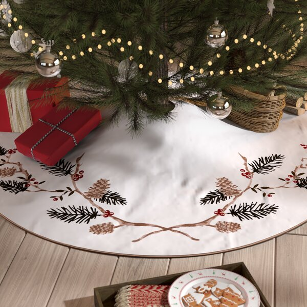 Natural Pines Chain Stitch Tree Skirt by Loon Peak