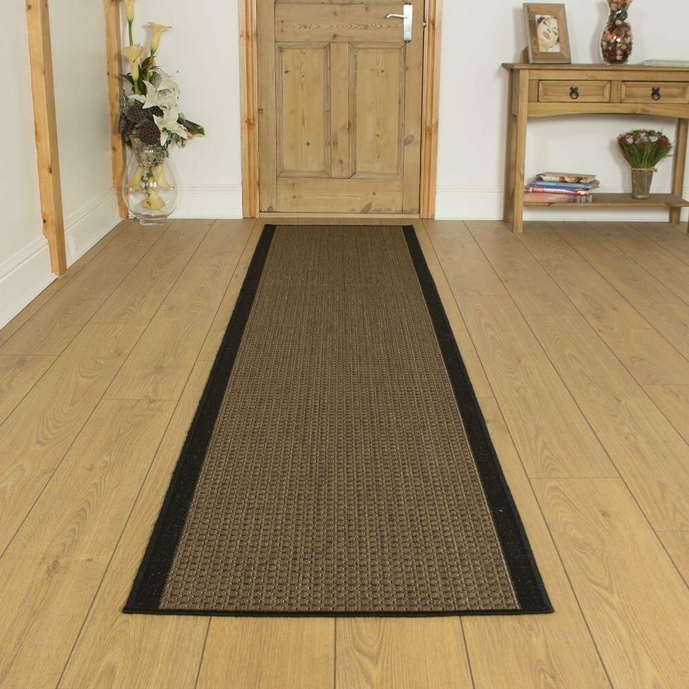 Bantom Flatweave Black Hallway Runner Rug
