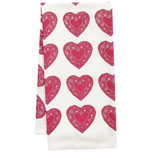 Organic Heart All Over Pattern Block Print Tea Towel by Artgoodies