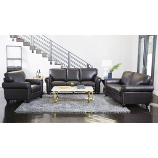 Coggins 3 Piece Leather Living Room Set By Darby Home Co
