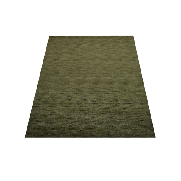 Ry Hand-Knotted Wool Green Area Rug by Latitude Run