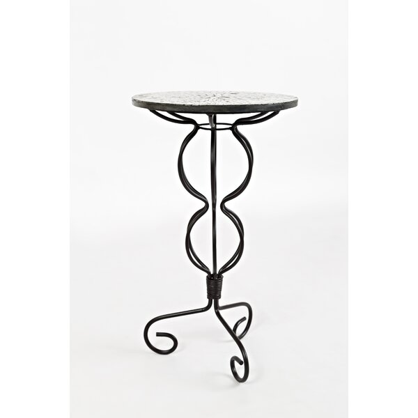 Brittanie Iron Pedestal End Table by Fleur De Lis Living