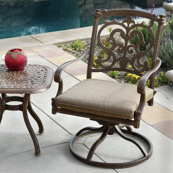 Palazzo Sasso Swivel Patio Dining Chair with Cushion by Astoria Grand