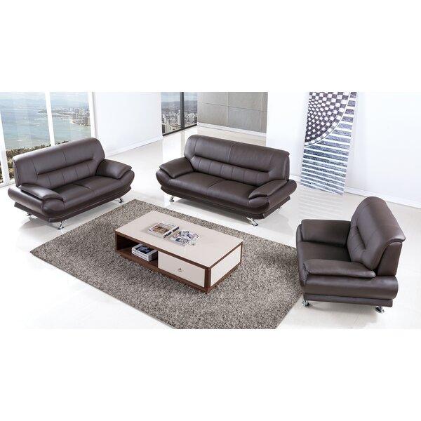 Holbrooke Leather 3 Piece Living Room Set By Orren Ellis
