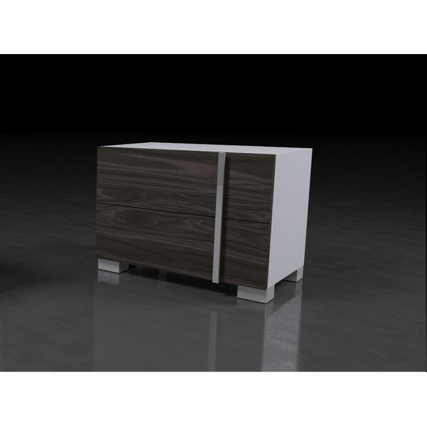 Vernita Italian Modern 2 Drawer Nightstand by Orren Ellis
