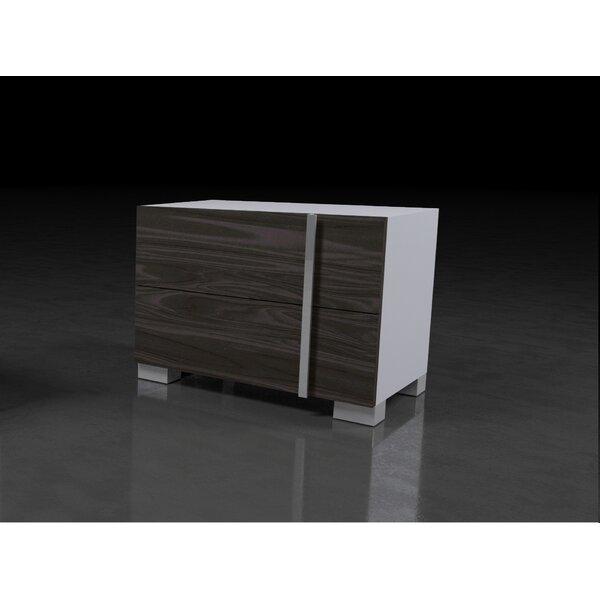 Vernita Italian Modern 2 Drawer Nightstand by Orren Ellis