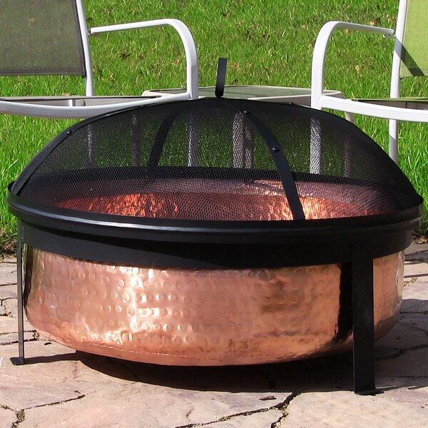 Tyrone Hammered Copper Wood Fire Pit by Millwood Pines