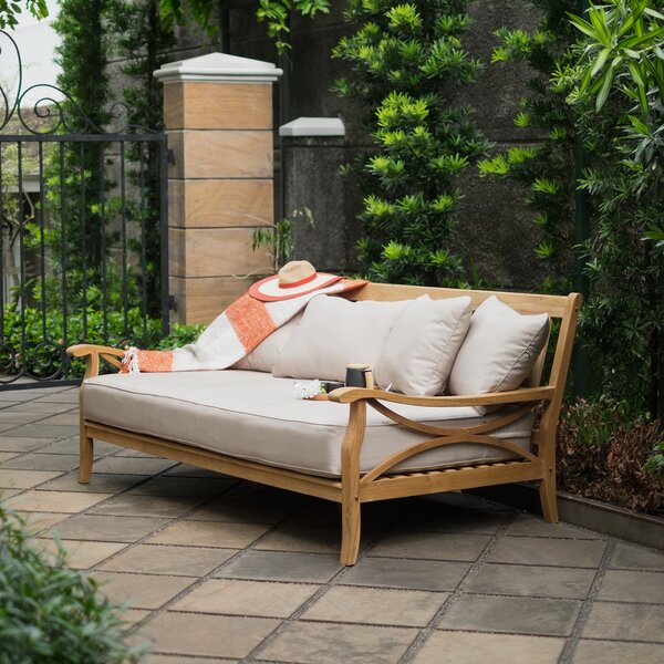 Brunswick Teak Patio Daybed With Cushion By Birch Lane™ Heritage