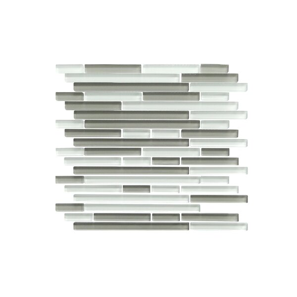 Verona Series Random Sized Glass Mosaic Tile in Glossy White/Gray by WS Tiles