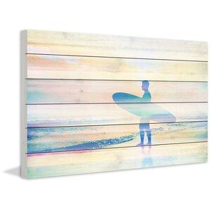 'Faded Surf' by Parvez Taj Painting Print on White Wood by Parvez Taj