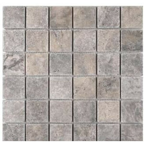 2 x 2 Travertine Mosaic Tile in Silver by Ephesus Stones
