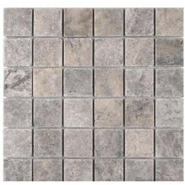 2 x 2 Travertine Mosaic Tile in Silver by Ephesus Stones