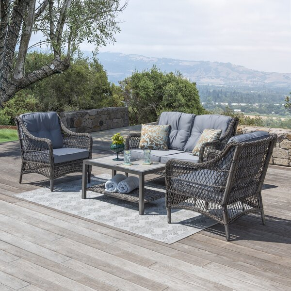 Pelletier 4 Piece Rattan Sunbrella Sofa Seating Group with Cushions by Bay Isle Home