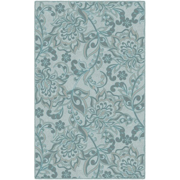 Unique Traditional Floral Blue Area Rug by Winston Porter
