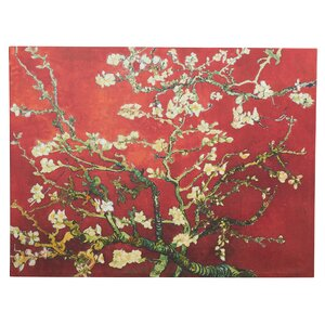 'Interpretation Blossoming Almond Tree' by Vincent Van Gogh Painting Print on Wrapped Canvas in Red and Gold by Bloomsbury Market