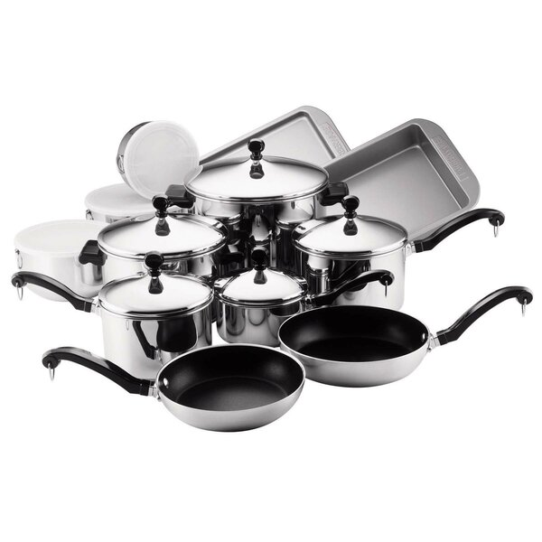 Classic Stainless Steel 17 Piece Cookware Set by F