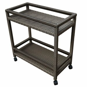 Outdoor Wicker Bar Cart with Shelves and Wheels by Abba Patio