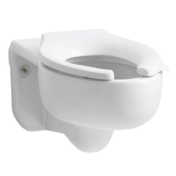 Stratton Wall-Mounted 3.5 GPF Water-Guard Flushometer Valve Elongated Blow-Out Toilet Bowl with Top Inlet, Requires Seat by Kohler