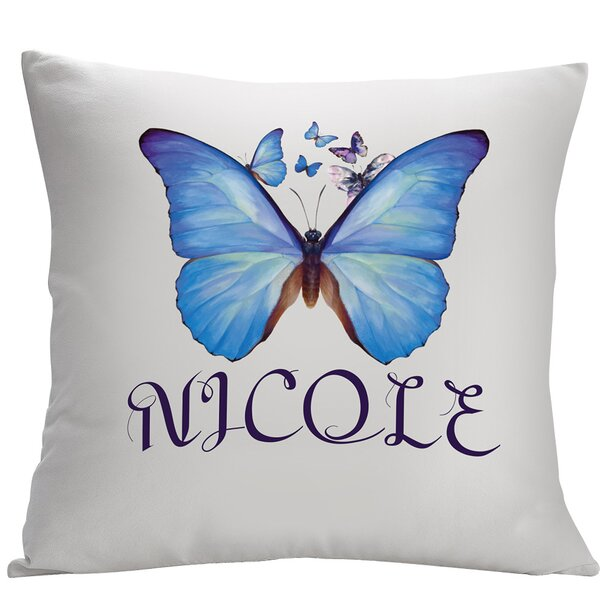 Personalized Butterfly Decorative Cushion Cover by Monogramonline Inc.