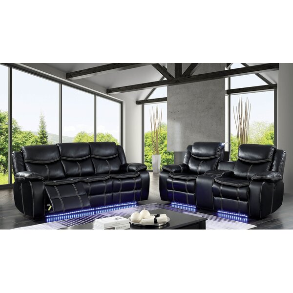 Helfer Contemporary Leather Power Wall Hugger Reclining Configurable Living Room Set by Red Barrel Studio