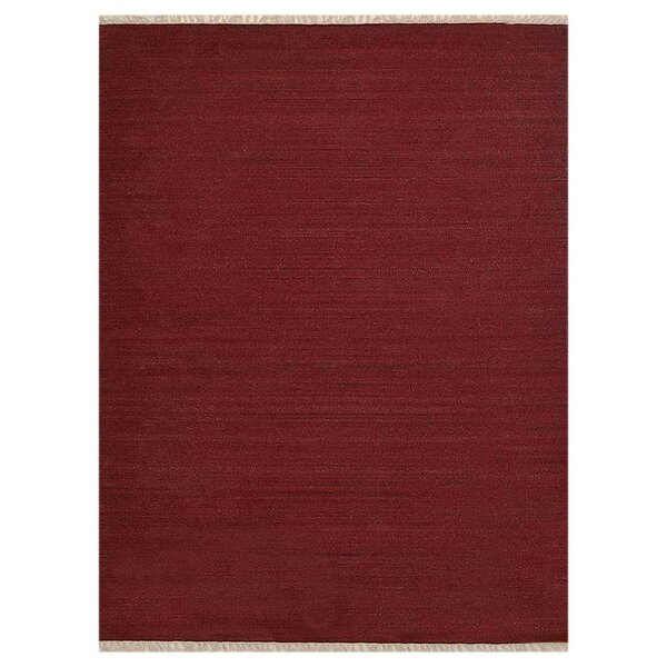 Coturnix Hand-Woven Wool Red Area Rug by Bloomsbury Market