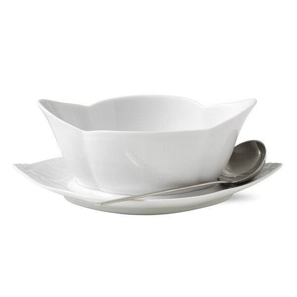 White Fluted Gravy Boat with Stand by Royal Copenhagen