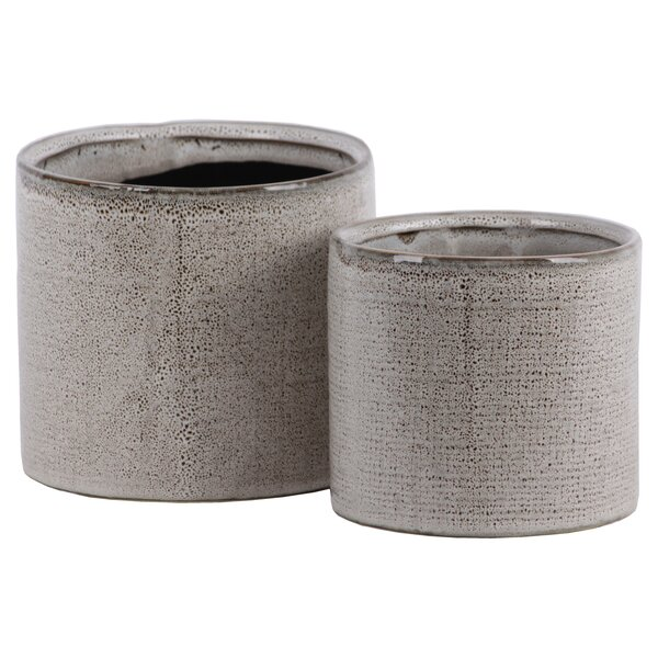 Odion Cylindrical 2-Piece Ceramic Pot Planter Set by World Menagerie