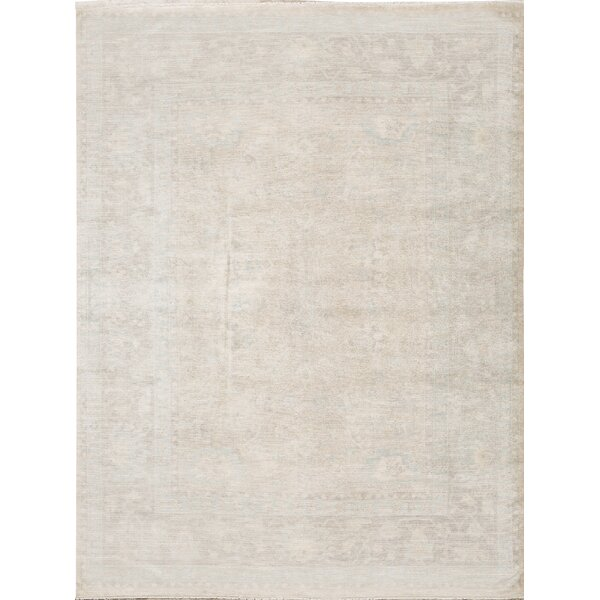 Oriental Hand-Knotted Wool Light Brown Area Rug