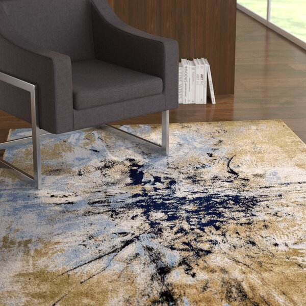 Ewers Gold/Blue Area Rug by Ebern Designs