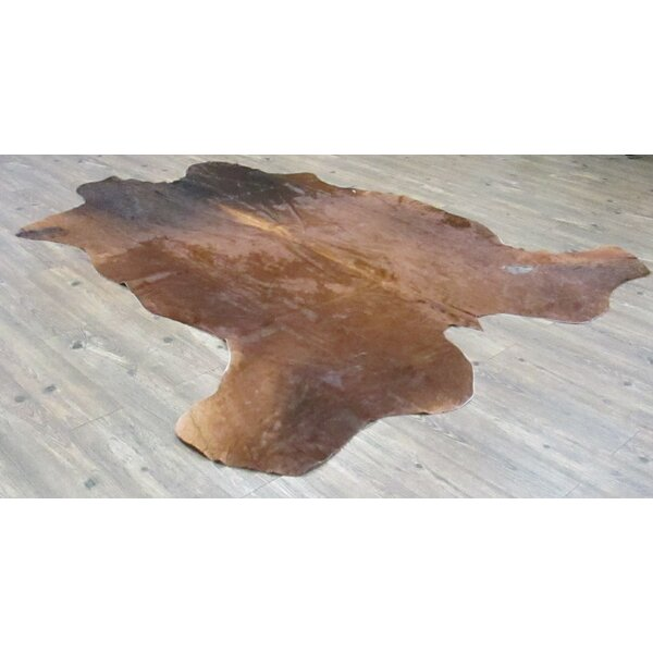 Kayla Hand-Woven Cowhide Brown/Black Area Rug by Loon Peak