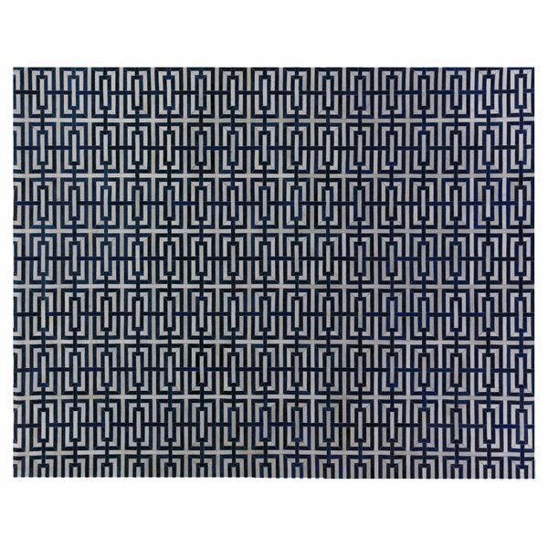 Natural Hide Leather Hand-Woven Navy Area Rug by Exquisite Rugs