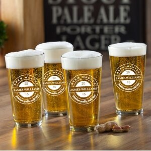 Brew Master Printed Pub Beer Glasses (Set of 4) by