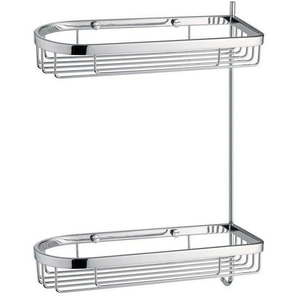 Koehler Wall Mount Shower Caddy Double Shelf Organizer with Hook by Symple Stuff