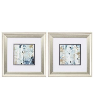 'Blue Watercolor' 2 Piece Framed Painting Print Set by Propac Images