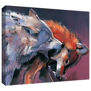 'Two Wolves' by Mark Adlington Print of Painting on Wrapped Canvas by ArtWall