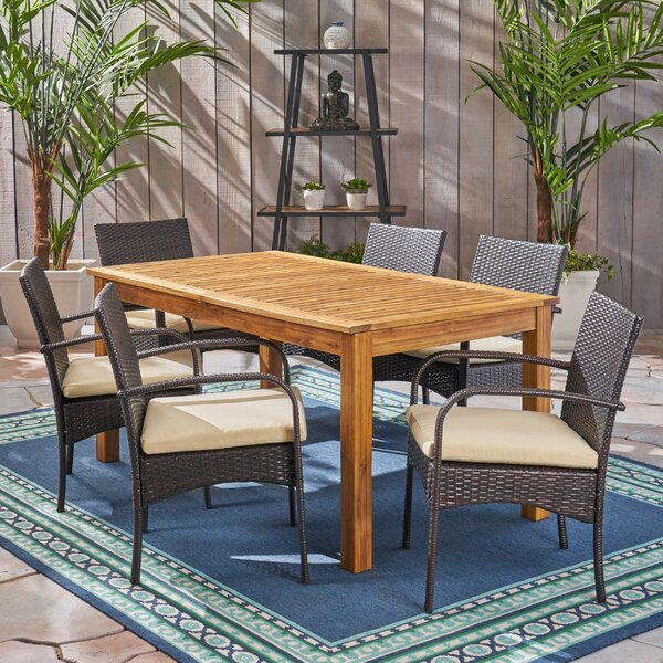 muir Outdoor Expandable 7 Piece Dining Set with Cushions by Brayden Studio