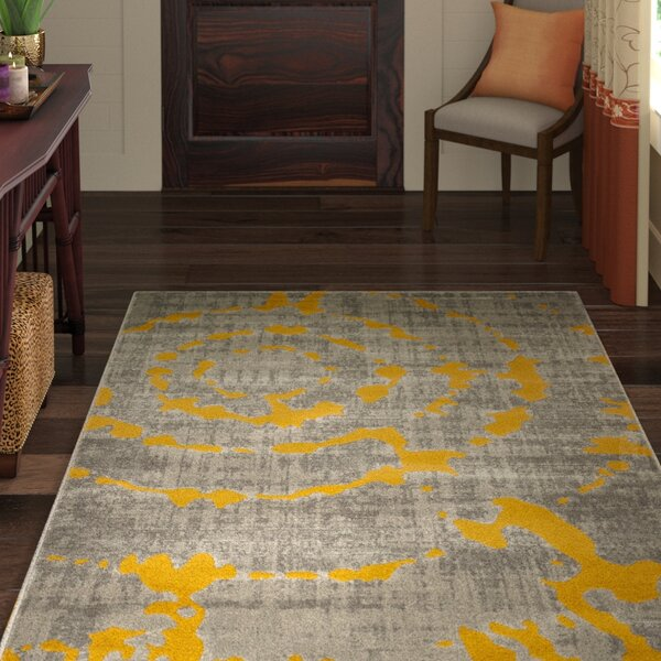 Chaima Light Gray/Yellow Area Rug by World Menagerie