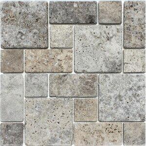 Roman Pattern Tumbled Random Sized Stone Mosaic Tile in Silver