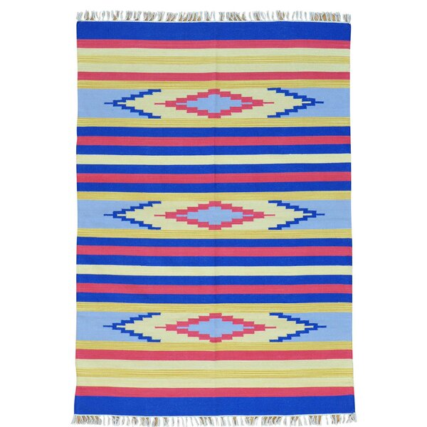 One-of-a-Kind Tolley Flat Weave Southwestern Killim Hand-Knotted Cotton Blue/Yellow Area Rug by Millwood Pines