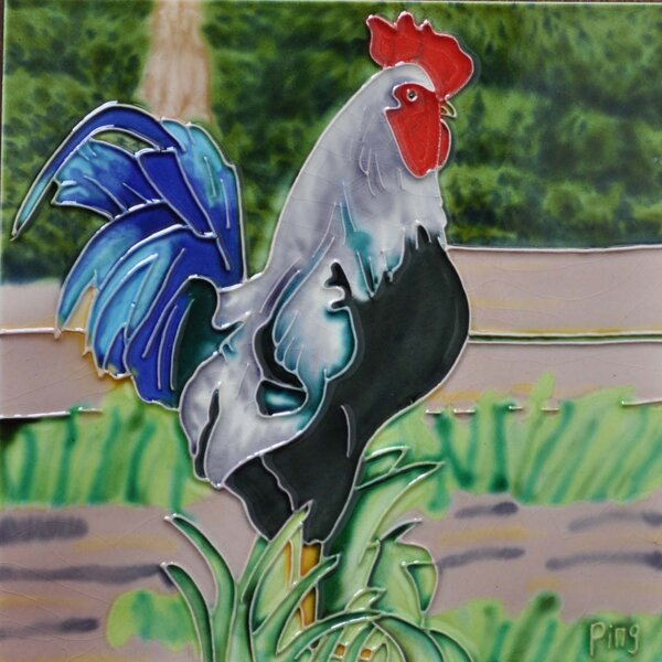 Blue Tail Rooster Tile Wall Decor by Continental Art Center