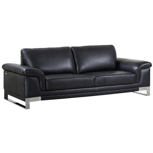 Hawkesbury Common Leather Sofa by Orren Ellis