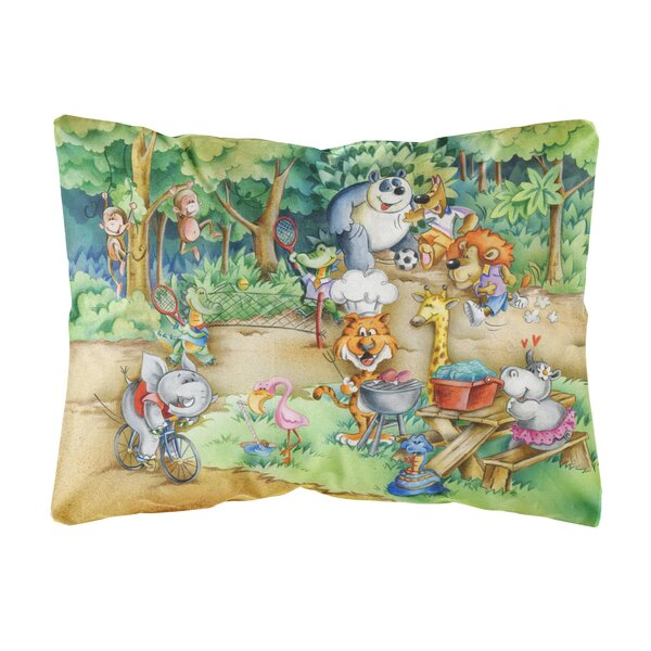 Wylie Animals at a Picnic Fabric Indoor/Outdoor Throw Pillow by Winston Porter