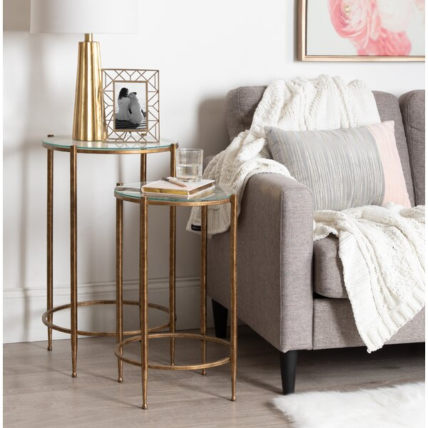 Home Décor Hamill Metal And Glass 2 Piece Nesting Tables