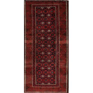 Price comparison One-of-a-Kind Barnwell Balouch Persian Hand-Knotted 3'10 x 7'2 Wool Red/Black Area Rug By Isabelline