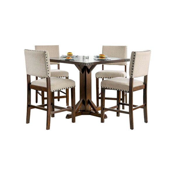 Burkitt Counter Height Solid Wood Dining Table by Ophelia & Co.