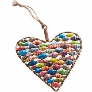 Fair Trade Wire and Paper Bead Heart Ornament
